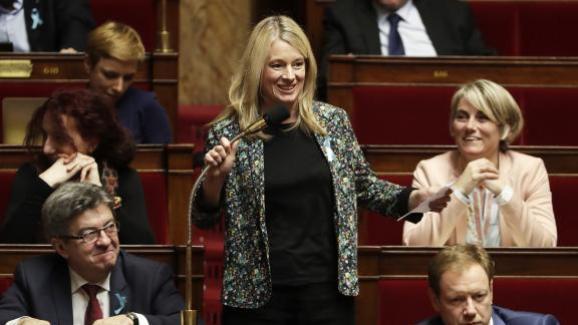 La députée LREM Bérangère Abba los d\'une séance de questions au gouvernement, le 3 avril 2018 à l\'Assemblée nationale.