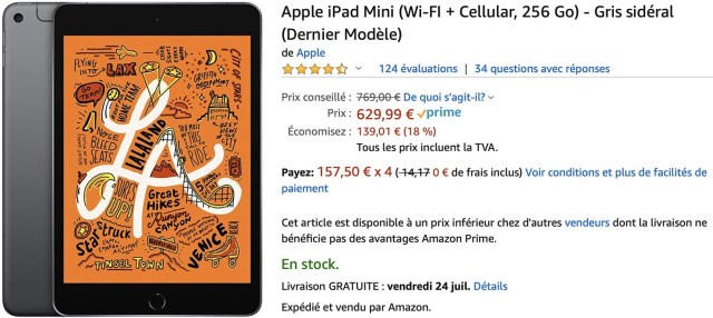 iPad mini 5 cellulaire 256 Go Amazon