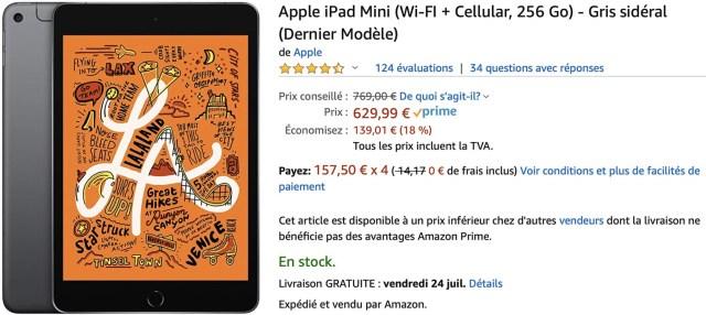 iPad mini 5 cellulaire 256Go Amazon