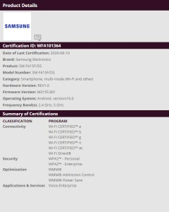Wi-Fi certification for the SM-F415F/DS