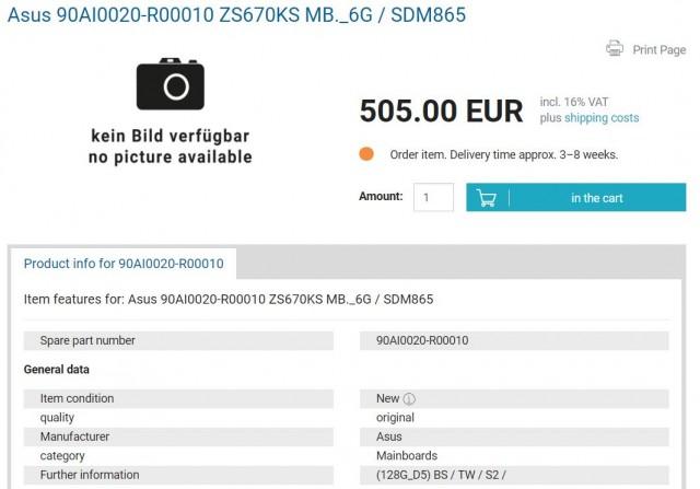 Asus Zenfone 7 listing