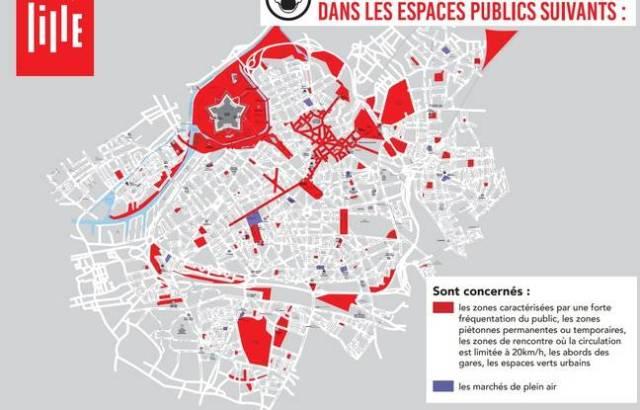 La carte des zones où le port du masque sera obligatoire à Lille.