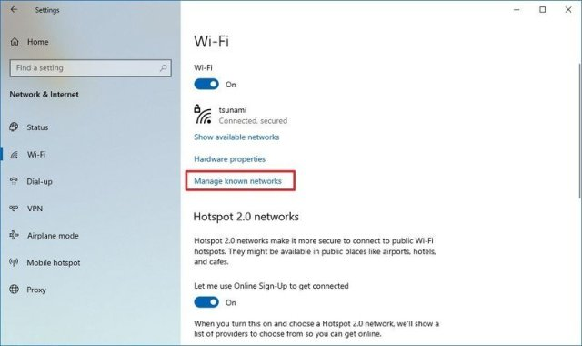Windows 10 manage known network option