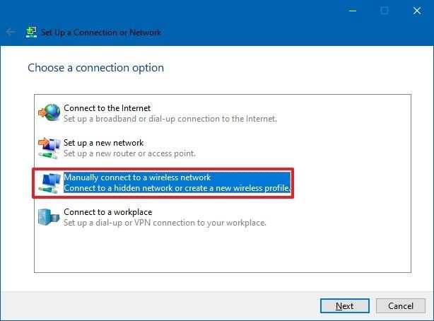 Manually connect to a wireless network option