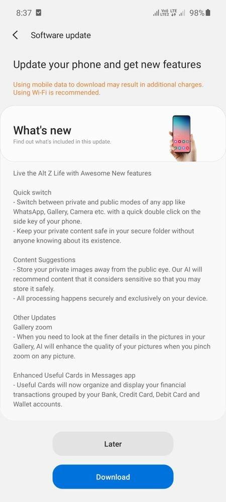 Samsung Galaxy A51 Alt Z Life Feature Software Update