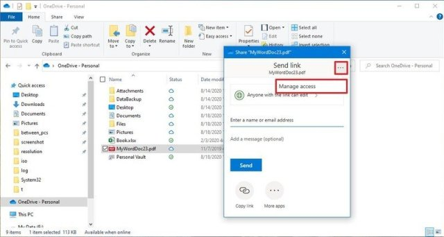 OneDrive manage access option