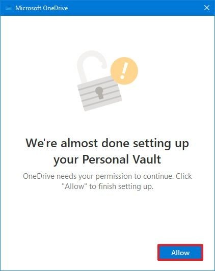 OneDrive personal vault allow option