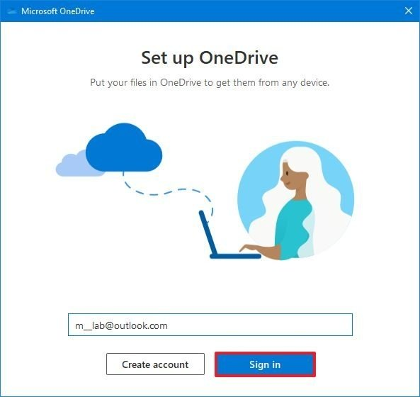 OneDrive sign in option