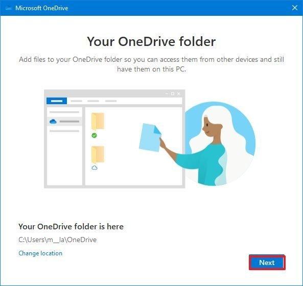 OneDrive setup default folder