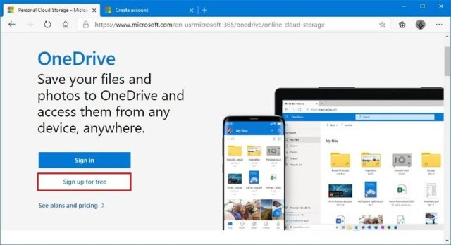 OneDrive sign up option
