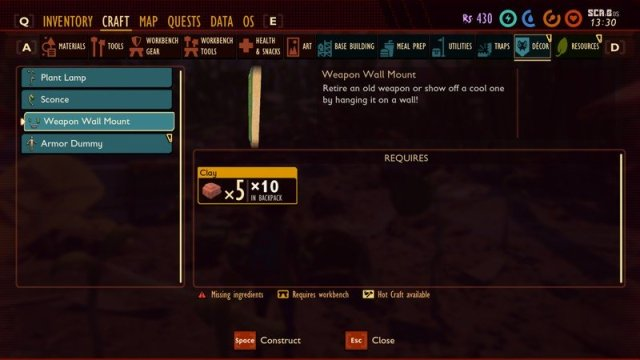 Grounded Clay Weapon Wall Mount Recipe