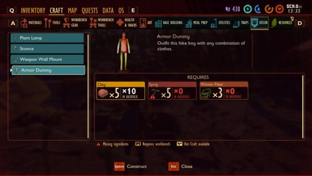 Grounded Clay Armor Dummy Recipe