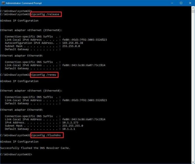 Windows 10 ipconfig renew and flushdns commands