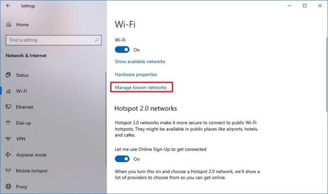 Windows 10 Manage Known Networks option