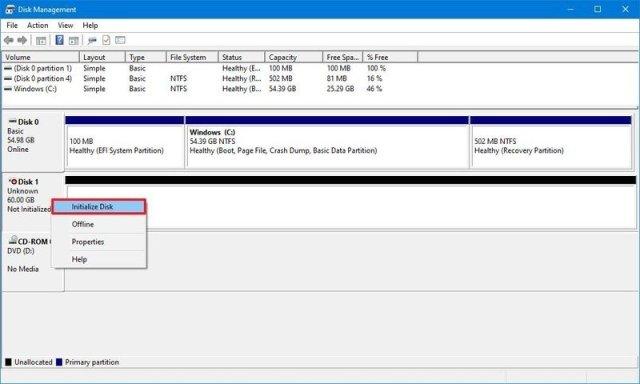 Disk Management Initialize Disk Option
