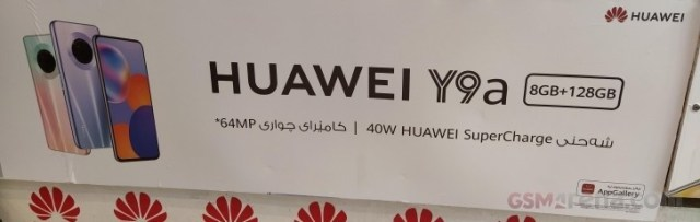 Huawei Y9a appears in banners with key specs