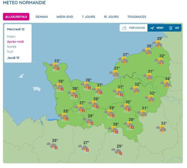 Un important épisode orageux est attendu dans en Normandie mercredi 12 août, dans l'après-midi.