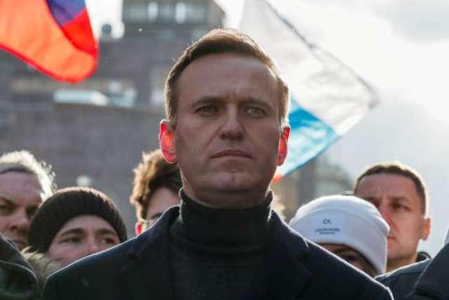 Navalny, lors d'un rassemblement marquant le 5e anniversaire du meurtre de l'opposant à Poutine Boris Nemtsov, à Moscou, le 29 février 2020.