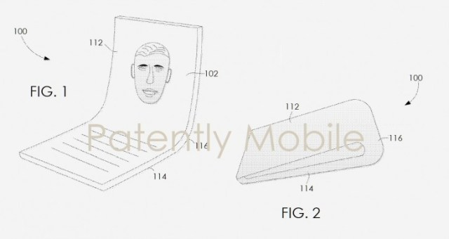 A patent drawing of a foldable Google phone from 2019