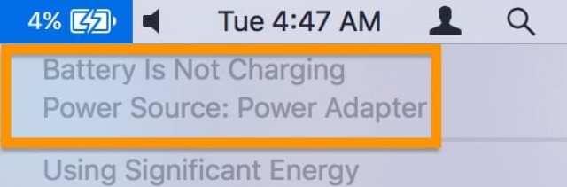 """MacBook Battery menu saying """"Not Charging."""""""