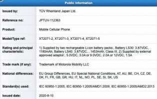 Motorola Razr 2020 battery certification