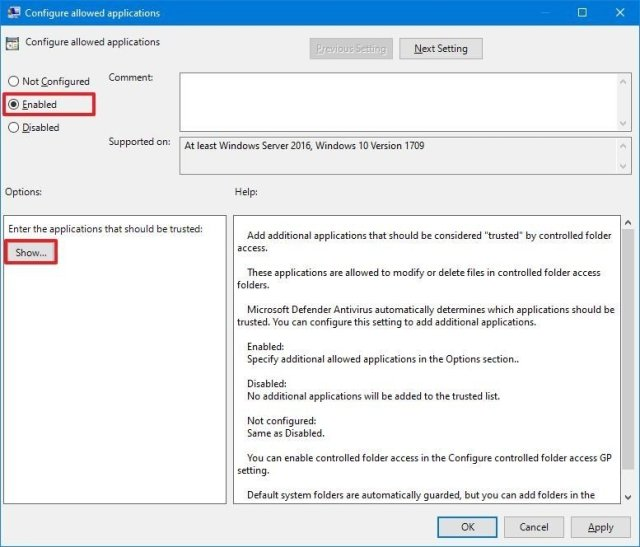 Configure allowed applications enable option