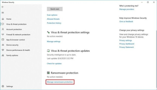 Manage Ransomware Protection option