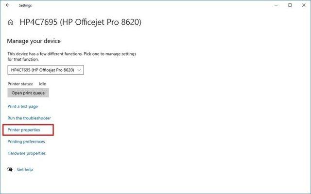 Settings Printer Properties Option