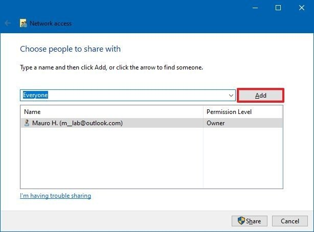 Select user or group to share files
