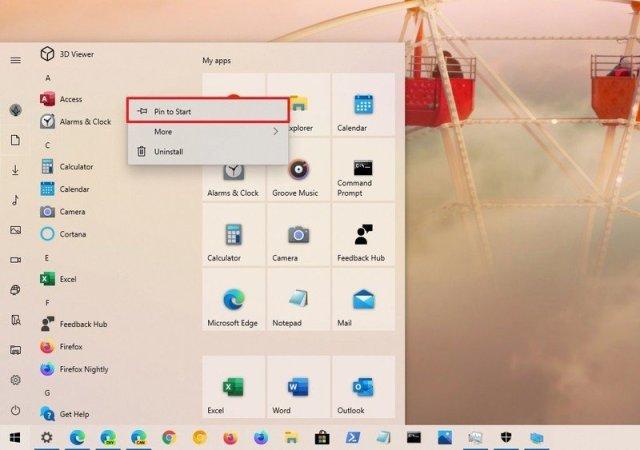 Start menu pin app to tile section
