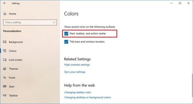Start menu color option