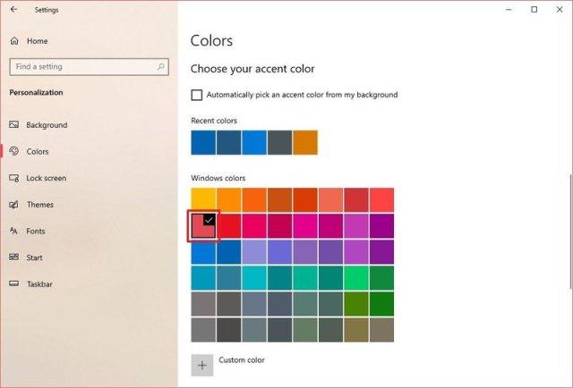 Windows Colors option