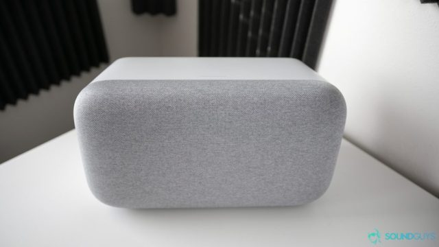 Google Home Max smart speaker pictured on a desk.