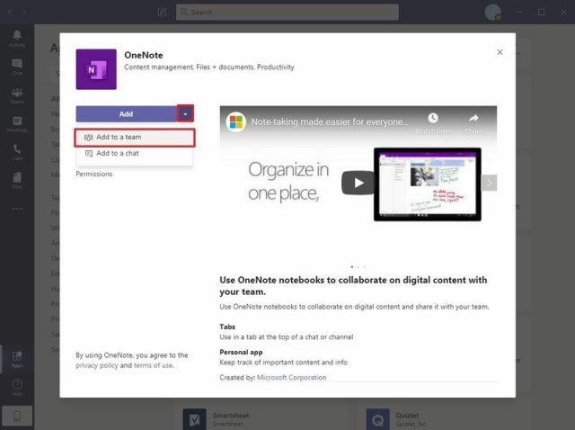 Add OneNote to a team option