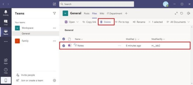 Microsoft Teams delete OneNote notebook file