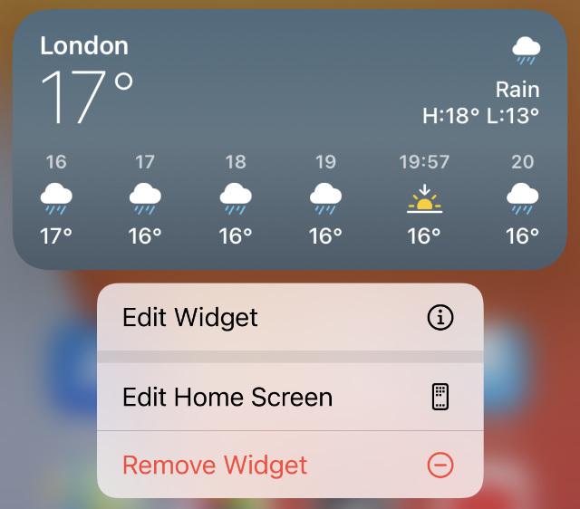 Remove widget option from Weather widget options