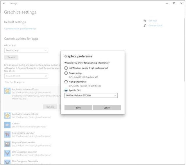 Windows 10 Specific GPU setting