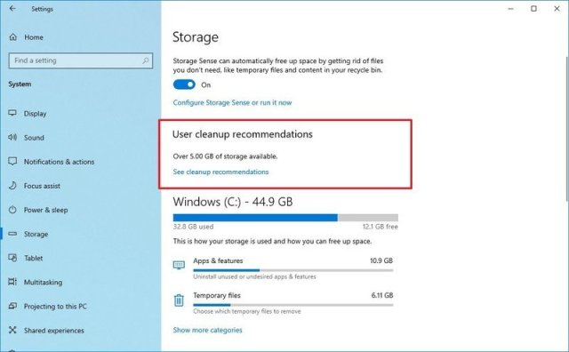 User Cleanup Recommendations on Windows 10