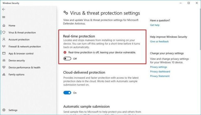 Microsoft Defender Antivirus disable real-time protection