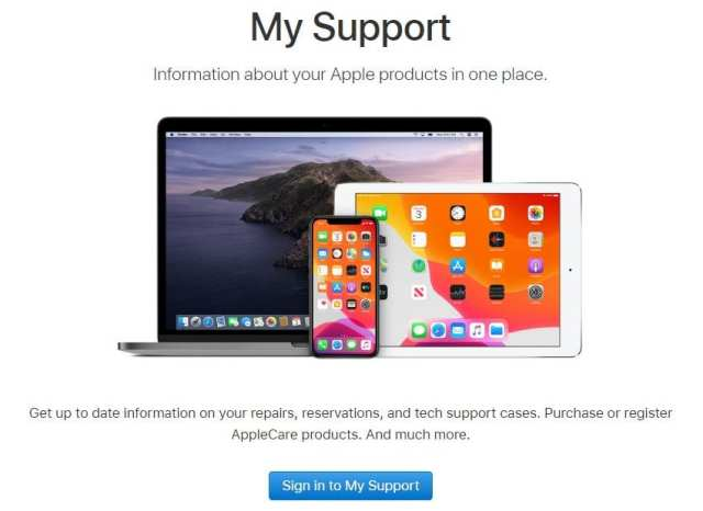 Apple My Support Page
