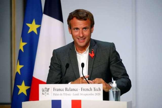Discours du président Emmanuel Macron aux start-up à l'Elysée le 14 septembre.