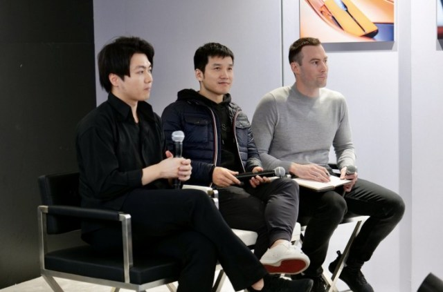Pete Lau (middle), speaking at CES 2020 in Las Vegas, January 2020