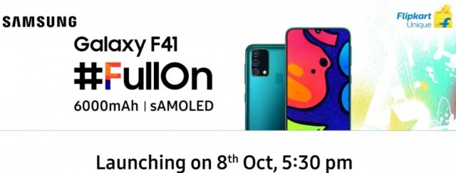 Samsung Galaxy F41 launch set for October 8, design and key specs revealed