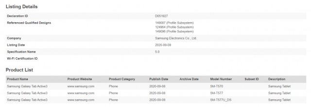 Bluetooth SIG confirms the Samsung Galaxy Tab Active3 name
