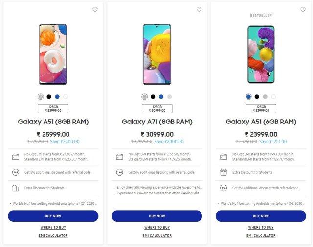 Samsung Galaxy A51 A71 India Price Drops