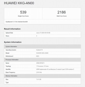 Geekbench 5 results: Honor X10 Max (Dimensity 800)