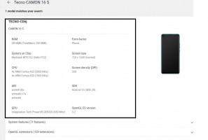 Tecno Camon 16 S at the Google Play Console
