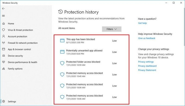 Microsoft Defender malware detection history