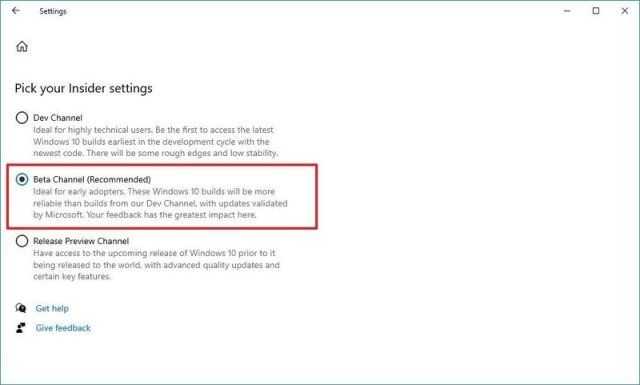 Change Insider channel to Beta