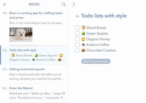 Meilleures applications de prise de notes pour iPad: Bear
